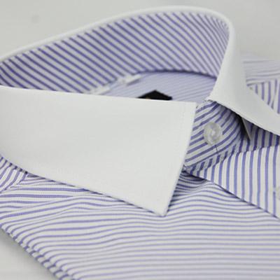 【金安德森】紫色斜紋白領窄版短袖襯衫