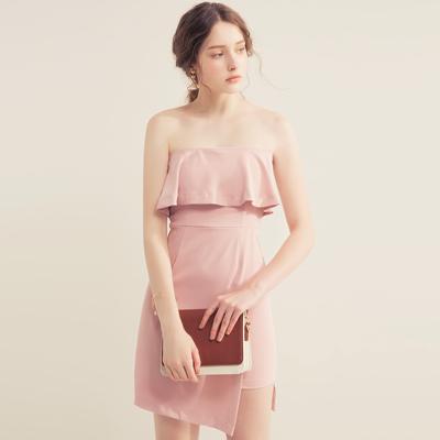 AIR SPACE 荷葉領平口包臀洋裝(粉紅)