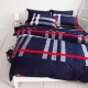 OLIVIA-經典英國藍-100-精梳純棉加大雙人床包被套四件組