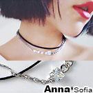 AnnaSofia 方鋯鎖鏈皮革鍊 雙層項鍊頸鍊CHOKER