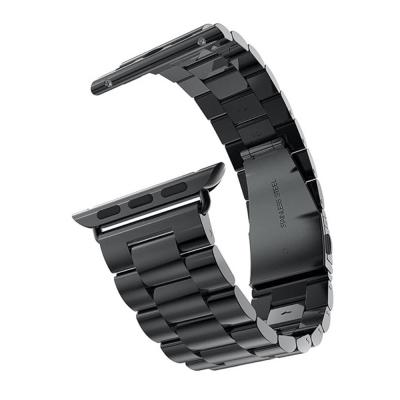 Apple Watch 不鏽鋼三珠蝶扣錶帶-贈拆錶器(沉穩黑-42mm)