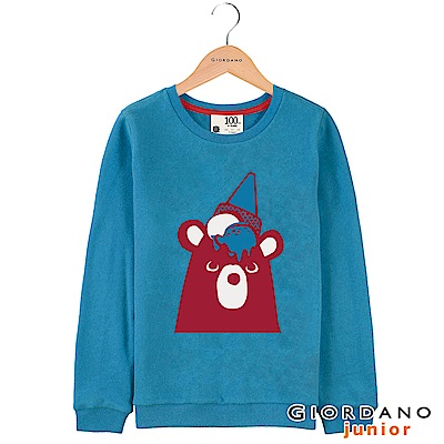 GIORDANO 童裝刷毛可愛動物印花長袖T恤-02 瑞典藍