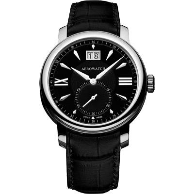 AEROWATCH Renaissance 大視窗小秒針腕錶-黑/皮錶帶/40mm
