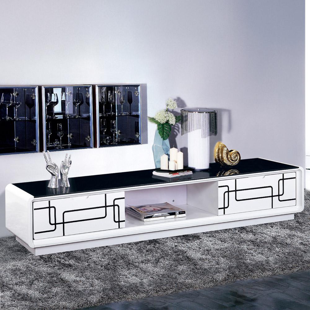 AT HOME-幾何6.6尺白色二抽黑玻長櫃