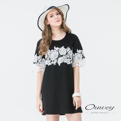 OUWEY歐薇 甜美百搭花草蕾絲洋裝(黑)