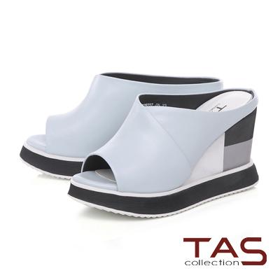 TAS寬版配色厚底楔型涼拖鞋-清新藍