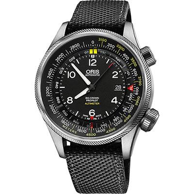 ORIS ProPliot Altimeter高度儀飛行錶/黑帆布-47mm