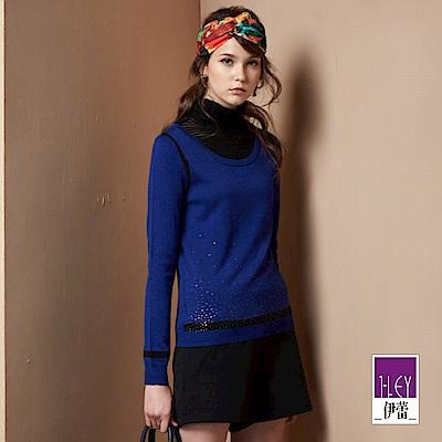 ILEY伊蕾 配色高領假兩件針織上衣(藍)