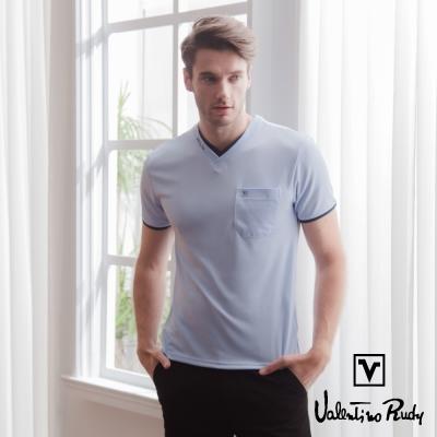 Valentino Rudy 范倫鐵諾.路迪 吸濕排汗冰涼機能T恤衫-紫藍-雙v口袋