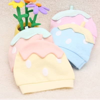 新生兒純棉草莓造型寶寶帽子-兩件入