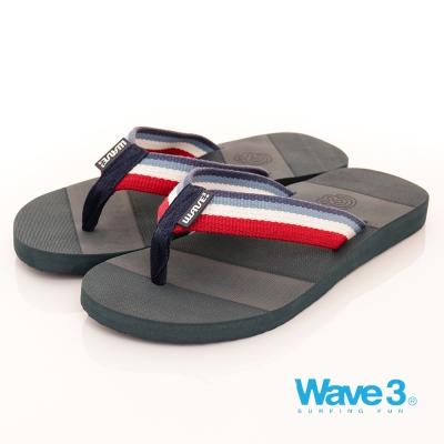 【WAVE3男款】獨家雙色織帶設計素色人字拖-藍(17101103