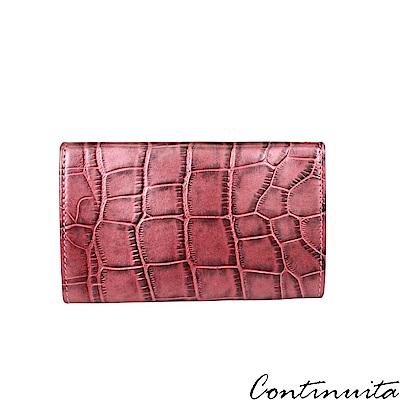 Continuita 康緹尼 頭層牛皮日本鱷魚紋多功能手機套-粉紅色