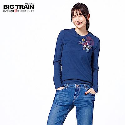 BIG TRAIN 豐饒菊鯉長袖圓領T-女-深藍