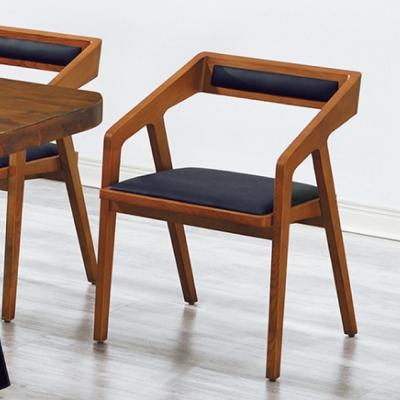 AS-實木黑皮坐墊2尺休閒餐椅-52x45x74cm
