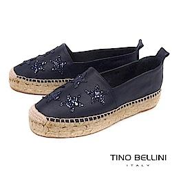 Tino Bellini 西班牙進口閃耀星芒厚底麻編休閒鞋_ 藍