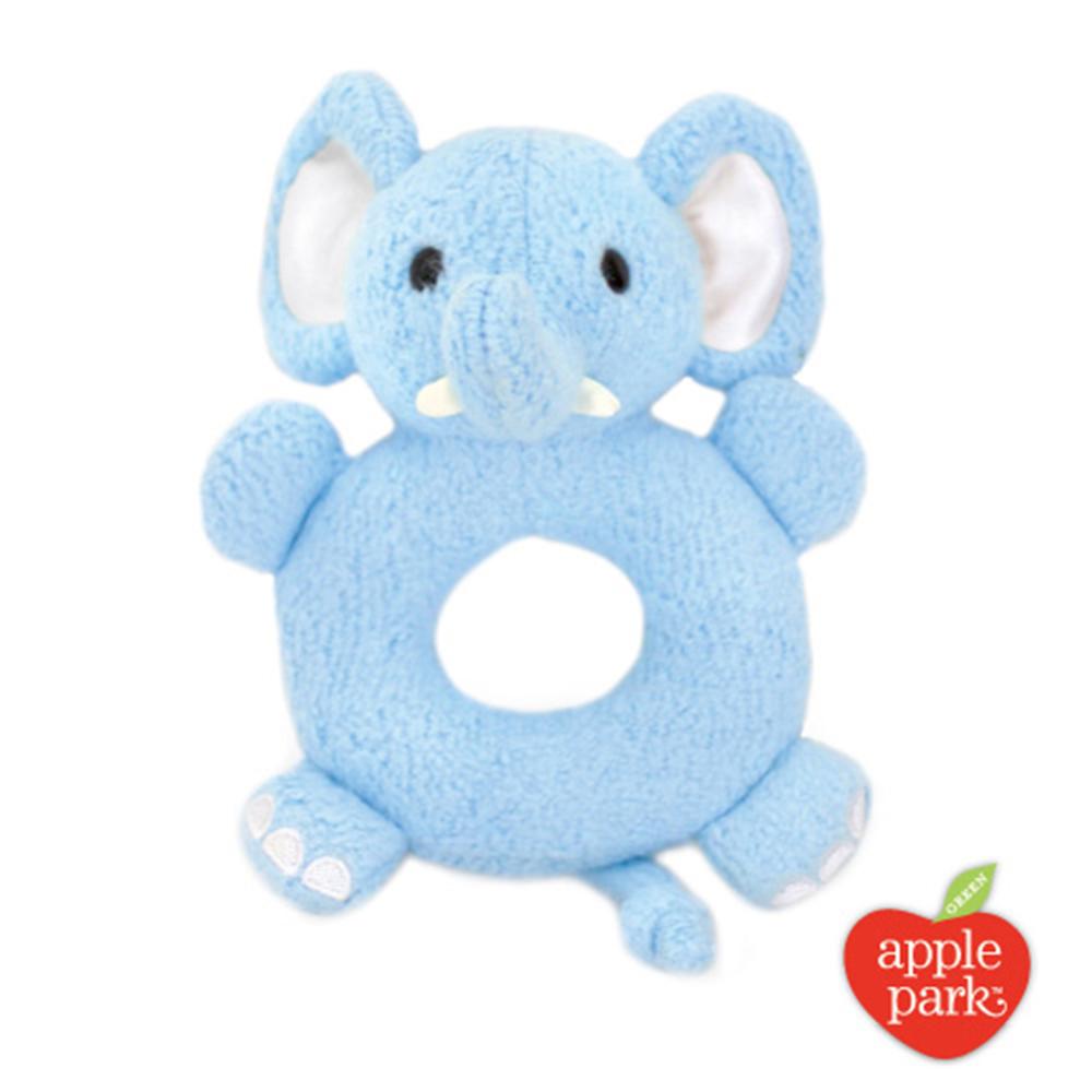 【美國 Apple Park】有機棉手搖鈴啃咬玩具 - 大象