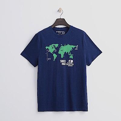 Hang-Ten-男裝-有機棉-世界地圖T恤-藍色