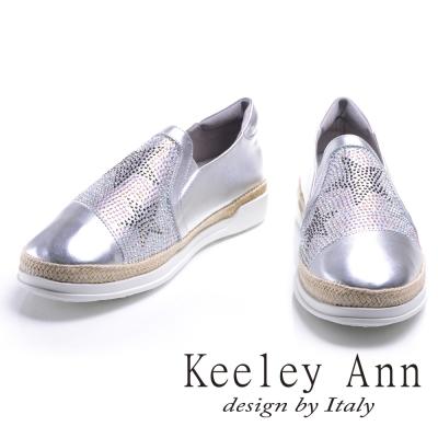 Keeley Ann 星光閃耀~滿鑽編織全真皮舒適平底懶人鞋(銀色)