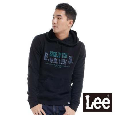 Lee-長袖厚T-刷毛連帽前口袋縮口-男款-黑
