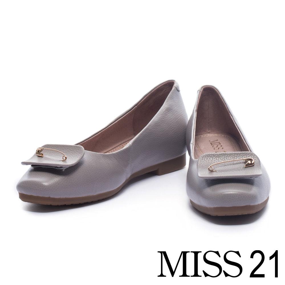 娃娃鞋 MISS 21 優雅獨特造型飾釦牛皮娃娃鞋-灰