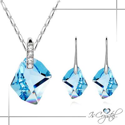 伊飾晶漾iSCrystal藍海菱型純銀耳環項鍊