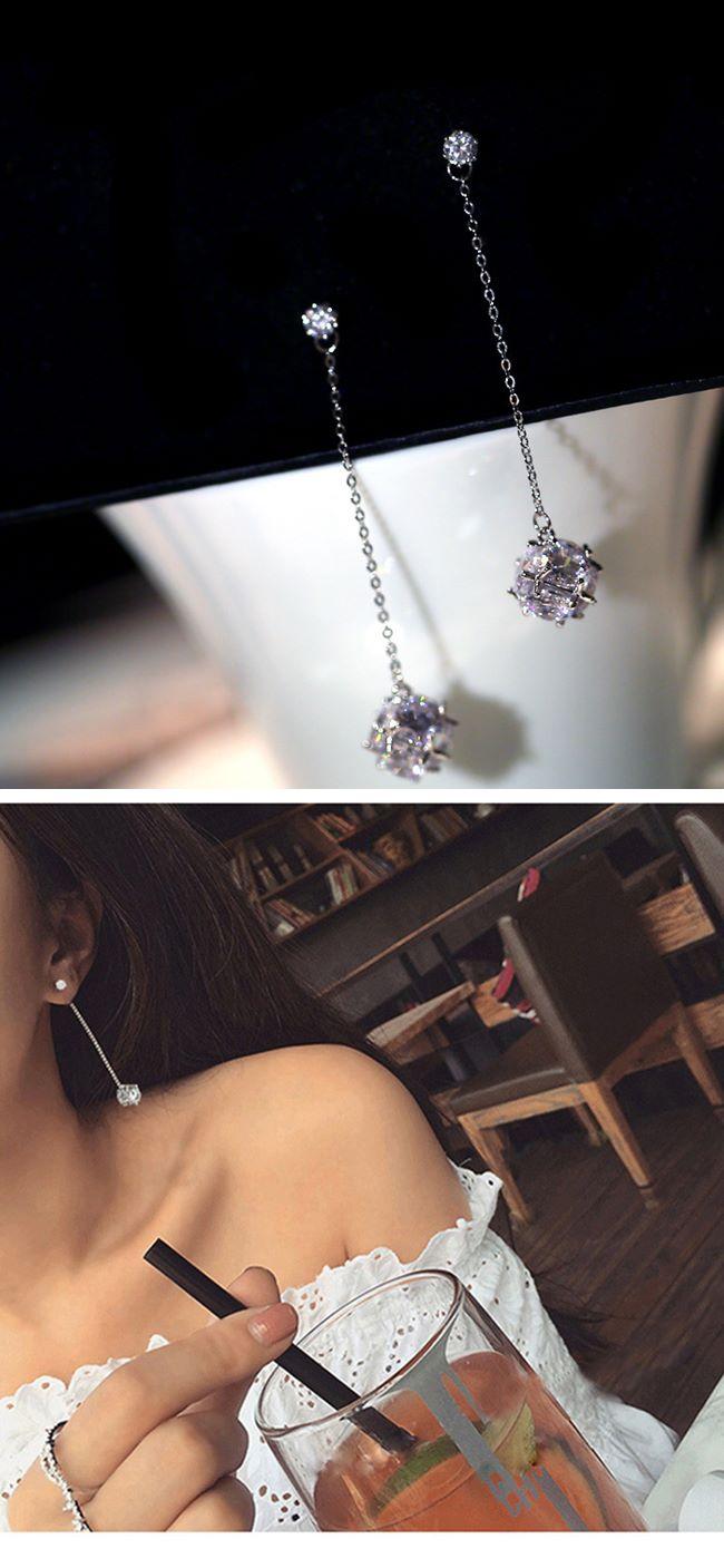 梨花HaNA 韓國925銀水晶燈鑽球妝飾修飾臉型耳線耳環