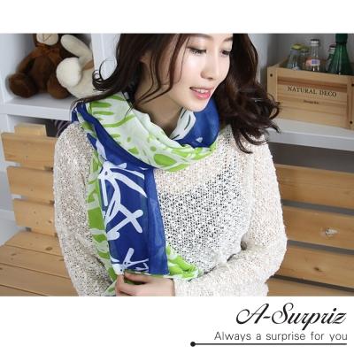 A-Surpriz 繽紛雪花巴黎紗圍巾(藍綠)