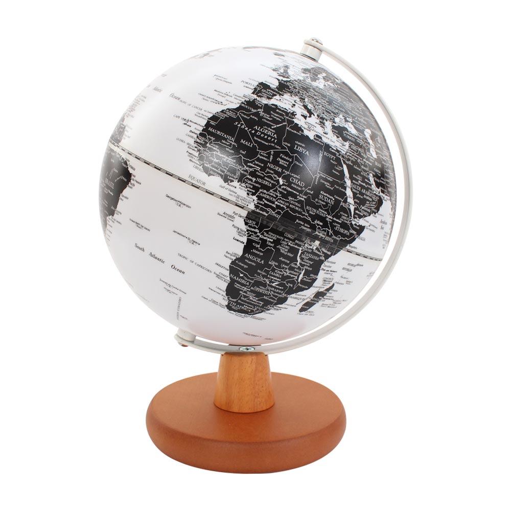 SkyGlobe 8吋發光白色海洋日式木質底座地球儀(英文版)