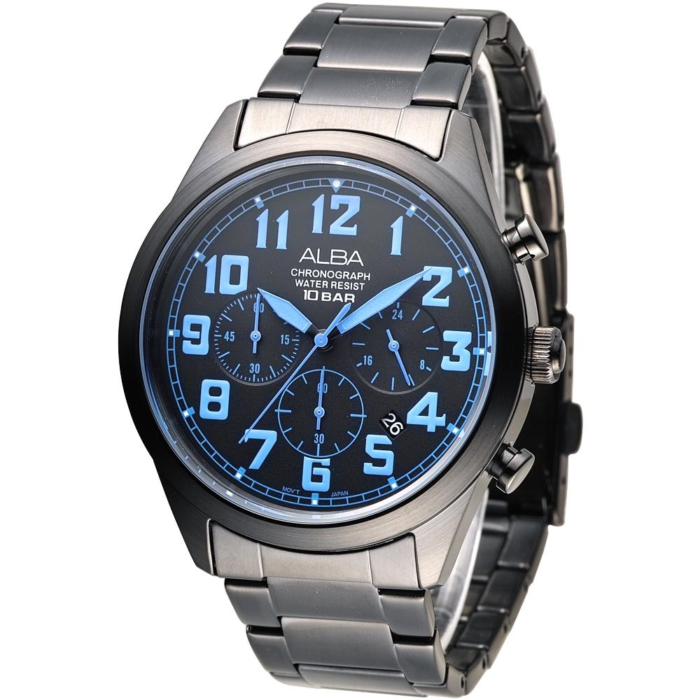ALBA雅柏手錶 個性潮流三眼碼錶計時男錶-鍍黑x藍刻(AT3529X1)/43mm 保固二年