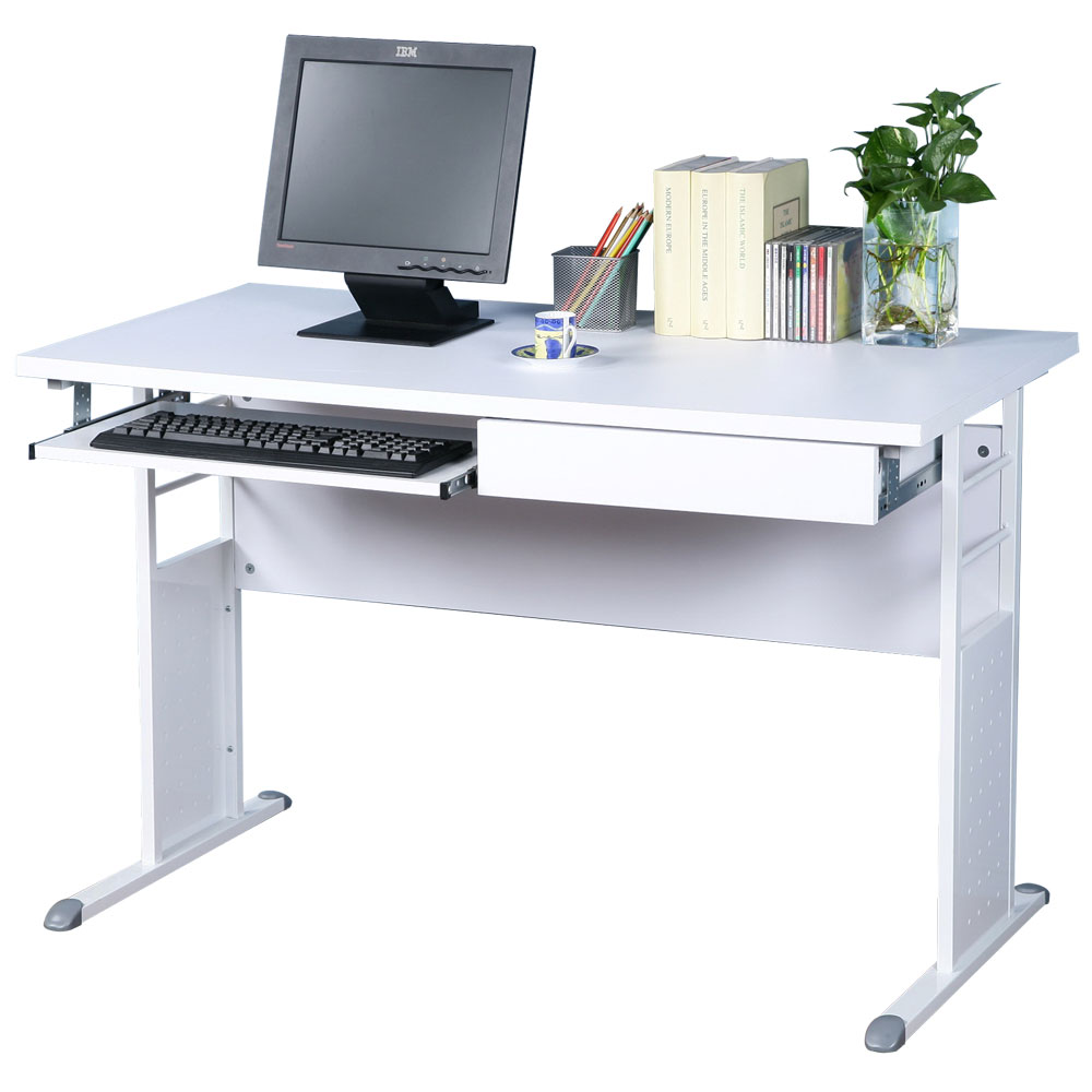 Homelike 巧思120x60辦公桌(附抽屜+鍵盤架)-白桌面/亮白桌腳