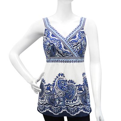 Style&co. 藍色印花圖樣長版上衣【4P】
