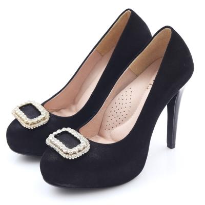 G.Ms. MIT花嫁系列-羊皮水鑽方釦厚底高跟鞋-高貴黑
