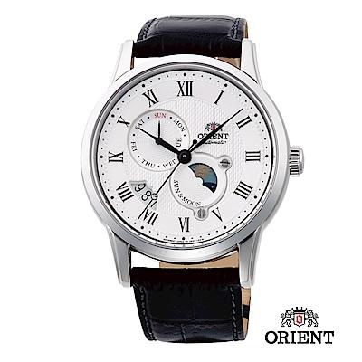 ORIENT 東方錶 SUN&MOON系列 日月相錶 皮帶款 白色-42.5mm