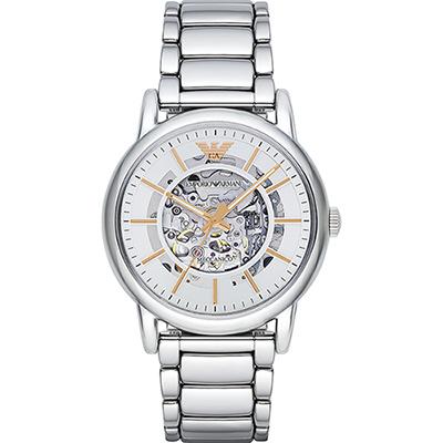 Emporio Armani Meccanico 雅爵鏤空機械腕錶-銀/43mm