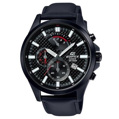 EDIFICE編織感格紋三眼設計賽車計時皮帶腕錶(EFV-530BL-1)-黑47.2m