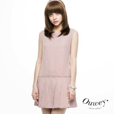 OUWEY歐薇-造型剪接千鳥紋緹花洋裝