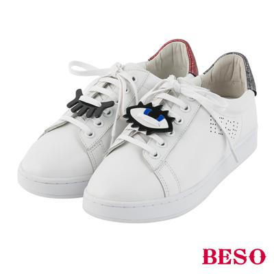 BESO街頭頑心 壓克力徽章親子小白鞋~白