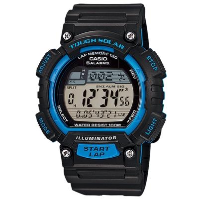 CASIO 太陽能全方位新元素運動風數位錶(STL-S100H-2A)-黑x藍錶框/44mm