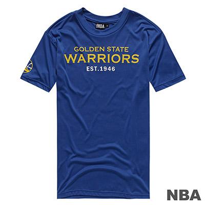 NBA-金州勇士隊經典款印花快排短T-藍 (男)