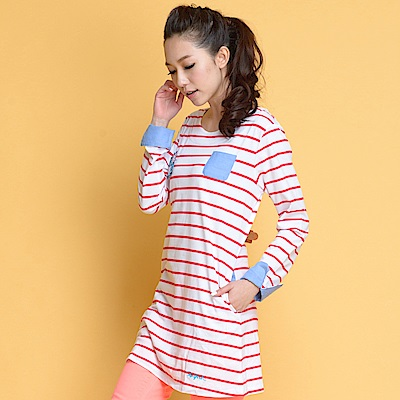 【TOPGIRL】棉條紋長版洋裝-紅色