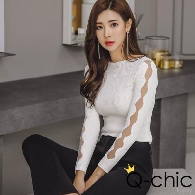 正韓 透膚波浪拼紗長袖針織衫 (共三色)-Q-chic