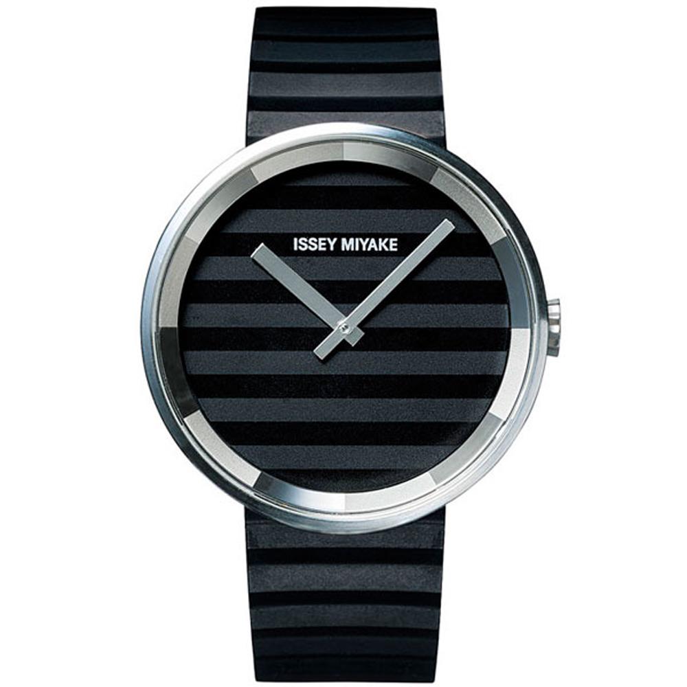 ISSEY MIYAKE三宅一生PPLEASE簡約時尚橫條紋手錶-黑/40mm
