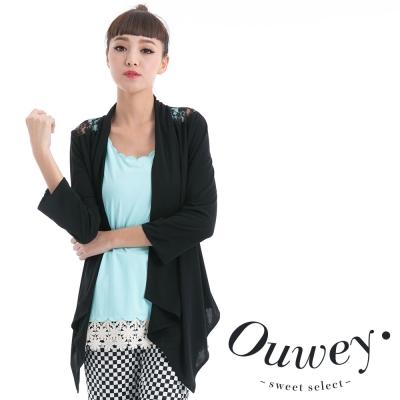 OUWEY歐薇-蕾絲拼接前短後長七分袖罩衫