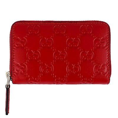 GUCCI Guccissima 紅色厚質真皮壓紋拉鍊零錢/名片夾