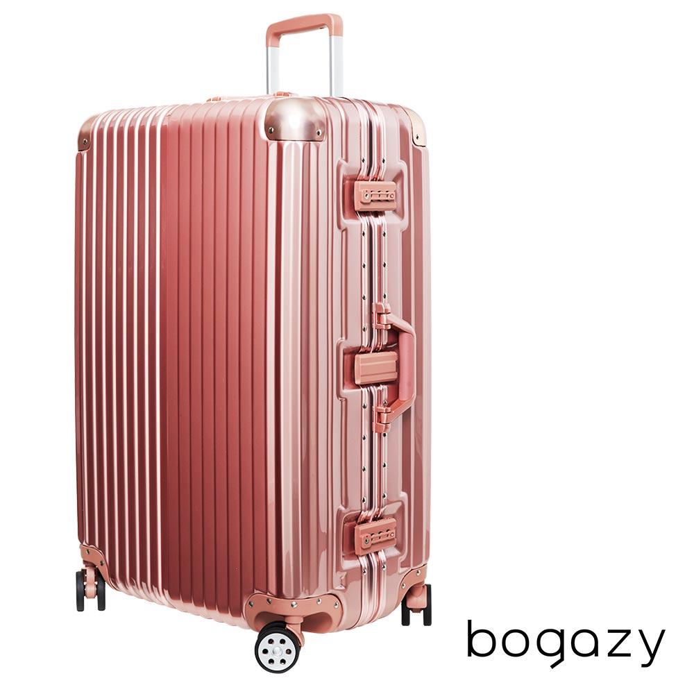 Bogazy 迷幻森林 29吋鋁合金防撞角PC鏡面鋁框行李箱(玫瑰金)