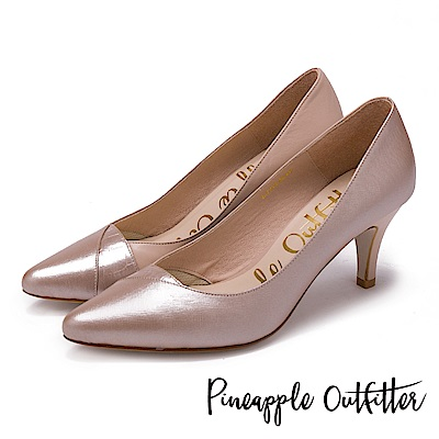 Pineapple Outfitter 優雅名伶 質感真皮拼接尖頭高跟鞋-粉色
