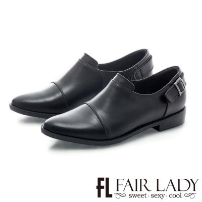 Fair Lady 後釦式設計帥氣男孩風皮鞋 黑