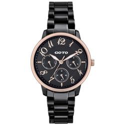 GOTO SC浪漫情人陶瓷時尚手錶-IP黑x玫框/34mm