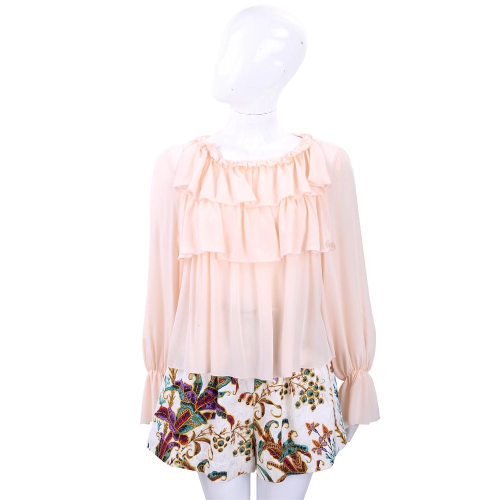 SEE BY CHLOE 粉橘色荷葉造型設計雪紡上衣 @ Y!購物