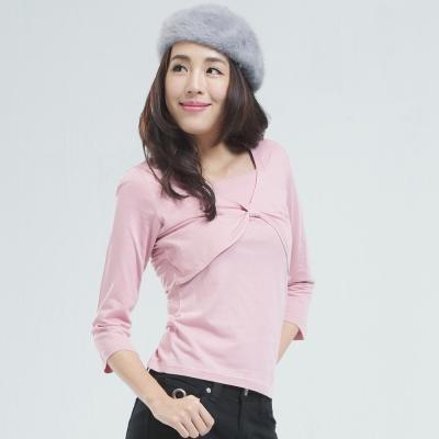 BOBSON 短罩衫.仿兩件式上衣(粉紅色)